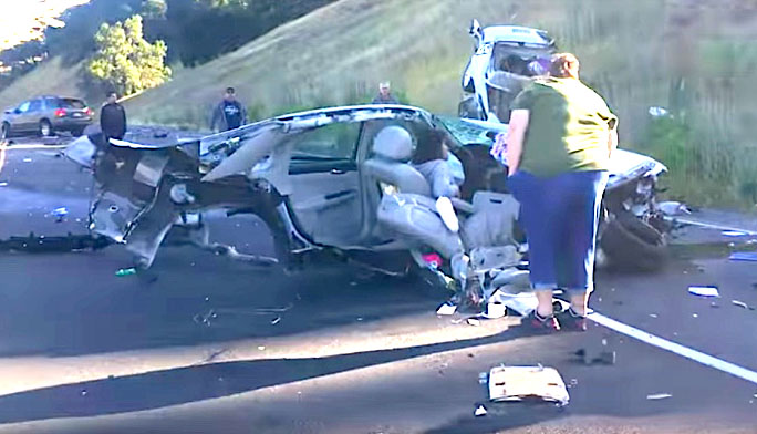 Woman Survives Violent Wreck Despite Car Literally Being Split In Half