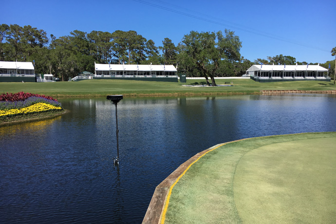 Intel True VR cameras are placed at the iconic 17th hole at the PGA�s PLAYERS Championship. Intel True VR is providing a live VR experience with the PGA at the PLAYERS Championship. (Credit: Intel Corporation)