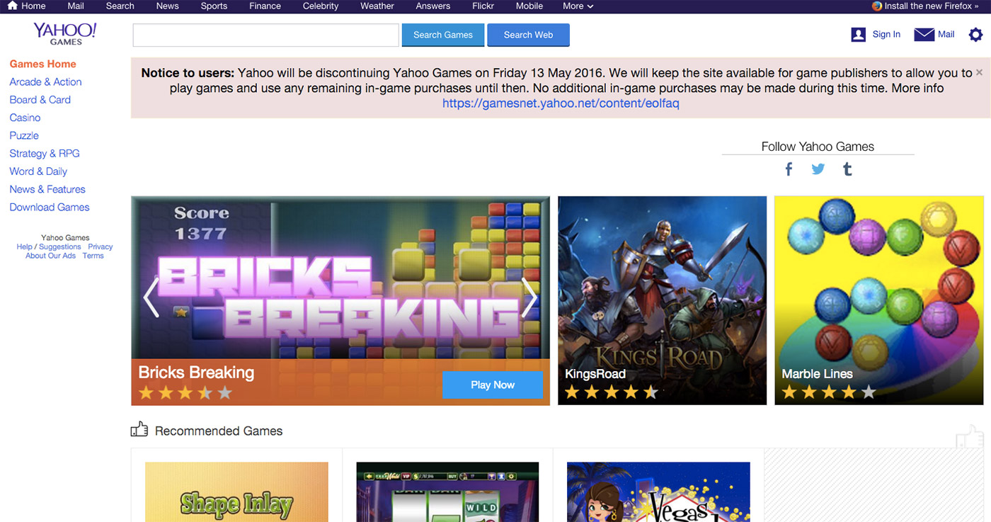 Yahoo Games is shutting down in May