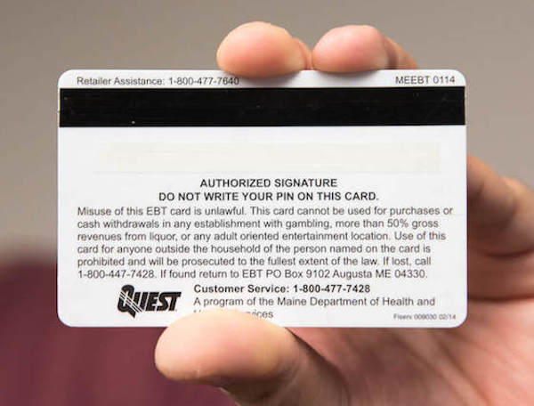 welfare cards in Maine have sex line phone number on them instead of help line