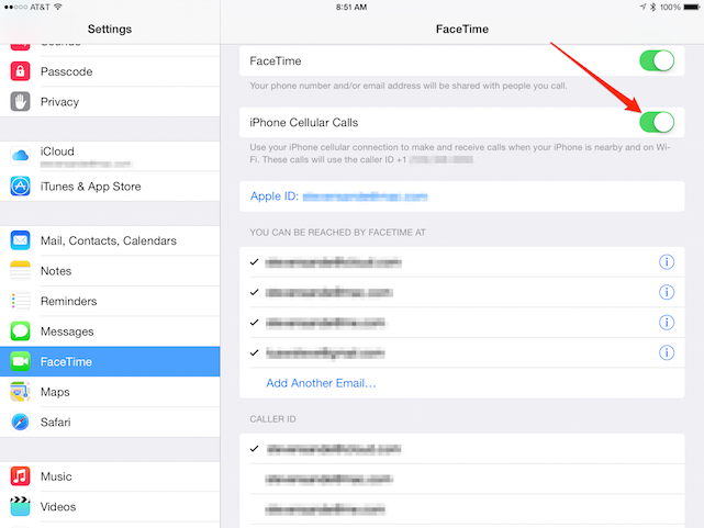 iPad FaceTime Settings, iOS 8