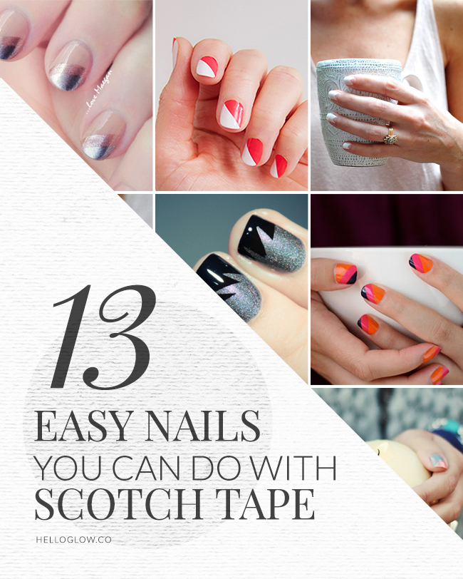 Cute Easy Nail Designs Using Tape: 13 Easy Nail Designs You Can Do With Scotch Tape