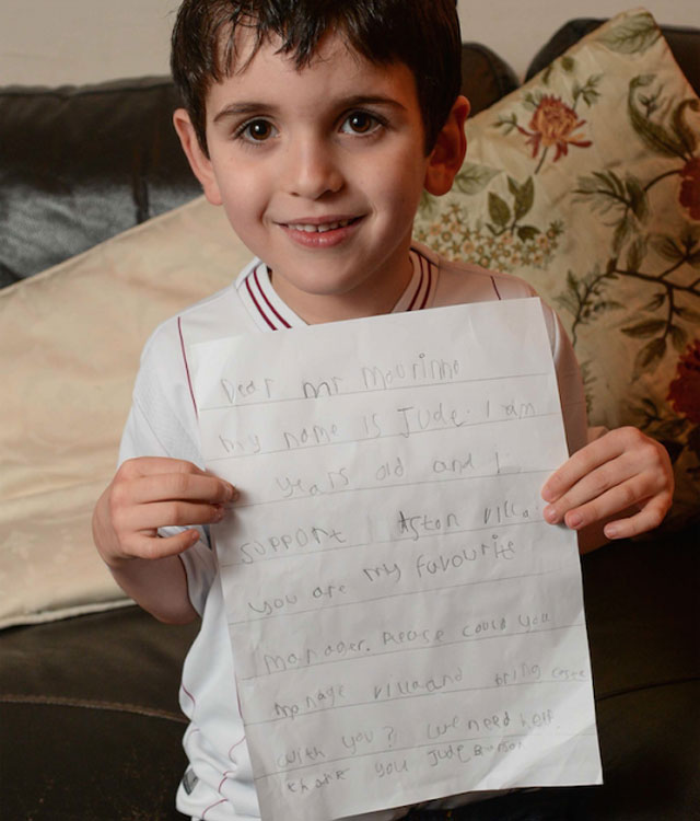 Jose Mourinho replies to six-year-old Aston Villa fan's plea for help