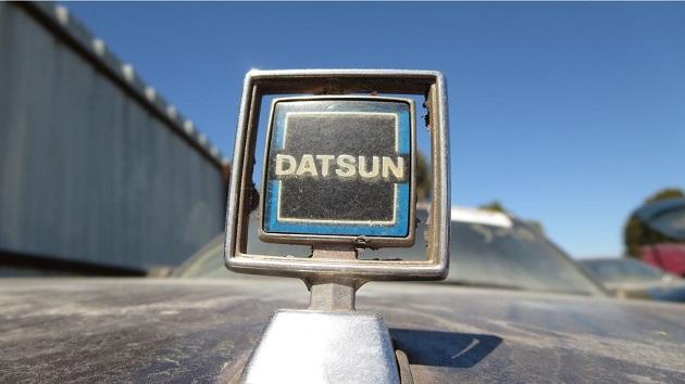 廃車置場で見つけた、警告音用の小型蓄音機を搭載する1983年型ダットサン「マキシマ」