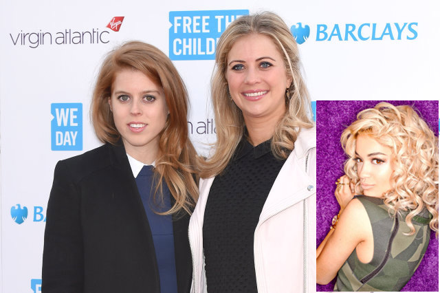 Princess Beatrice and Laura Whitmore with (inset) Rita Ora