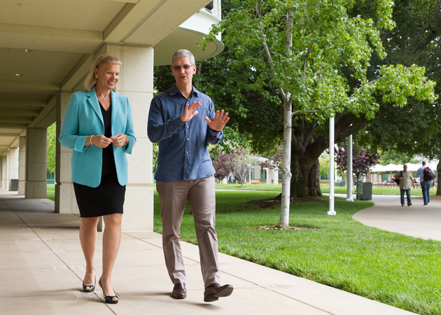 IBM's Ginni Rometty and Apple's Tim Cook have a chit-chat