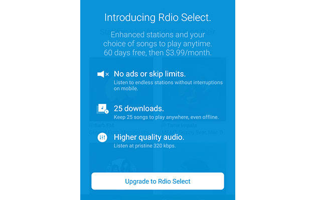 Rdio Select is a $4 monthly streaming service (with a download limit)