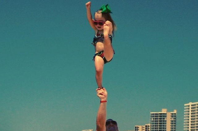 Cheerleader Emerson Decker started practising before she could walk