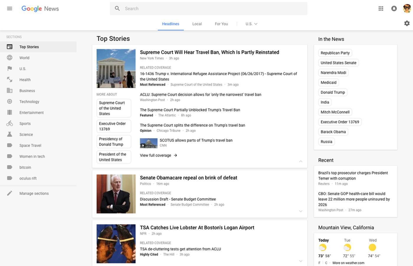 Google News redesigned with a cleaner look