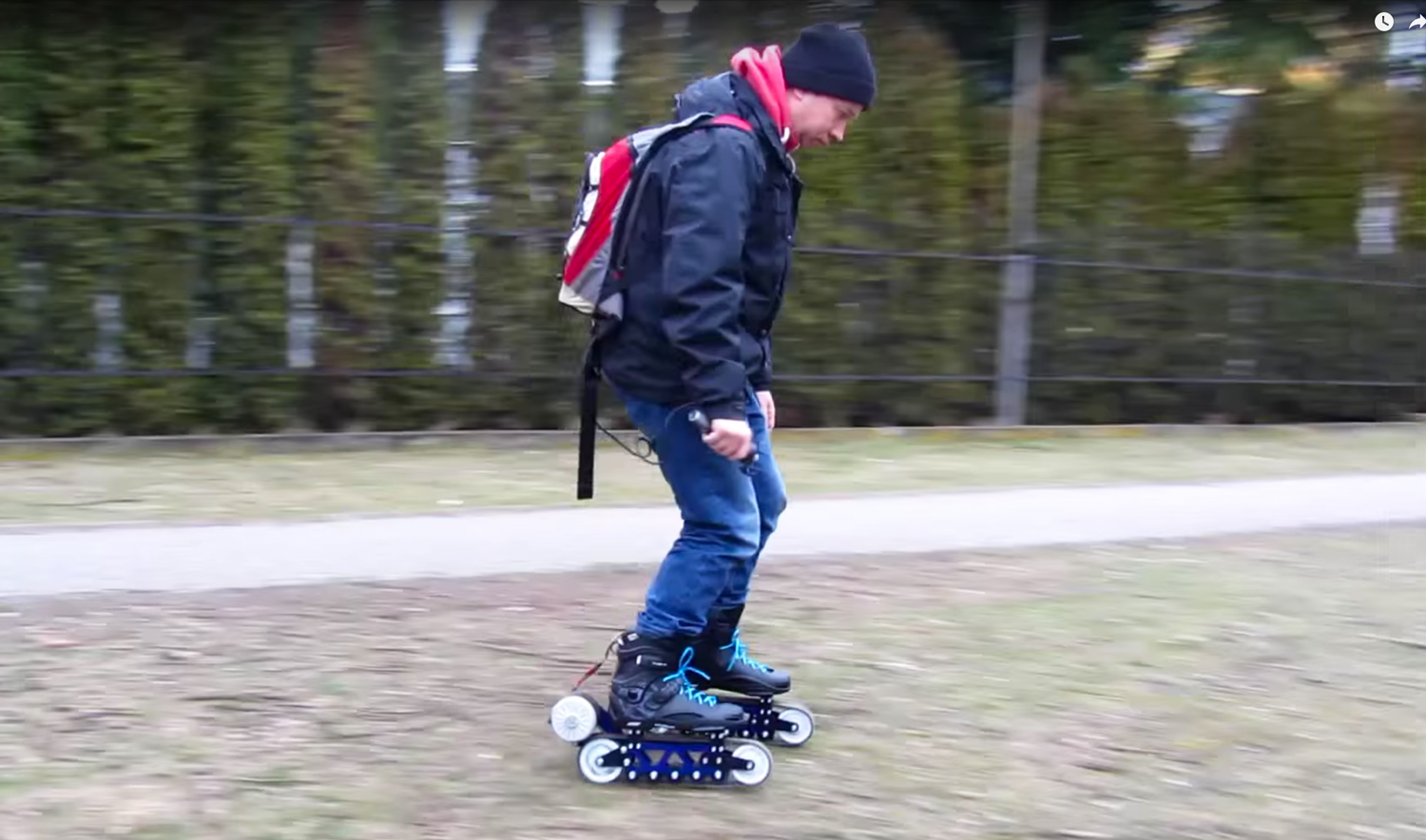 Electric rollerblades go offroad with tank treads for Shark tank motorized skates