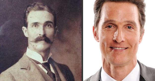 man's great great grandfather looks like matthew mcconaughey, matthew mcconaughey time traveler