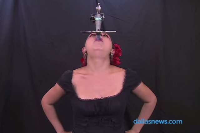 Nine months' pregnant sword swallower will make your eyes water (video)