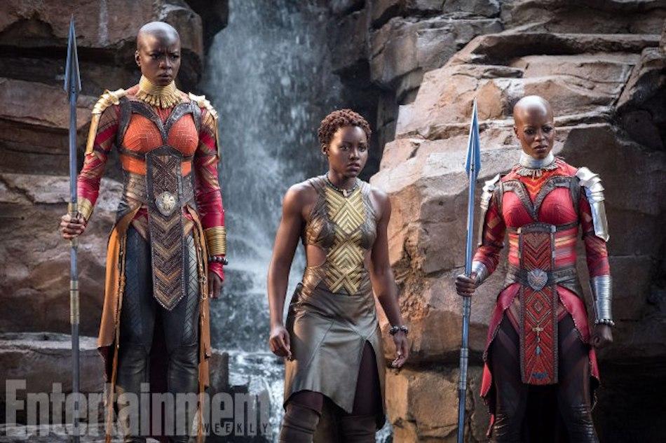 Marvel Studios' BLACK PANTHER L to R: Okoye (Danai Gurira), Nakia (Lupita Nyong'o) and Ayo (Florence Kasumba) Credit: Matt Kennedy/�Marvel Studios 2018