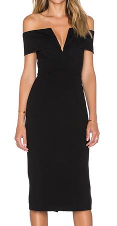 Ponti Shoulder Band V Dress by Nicholas