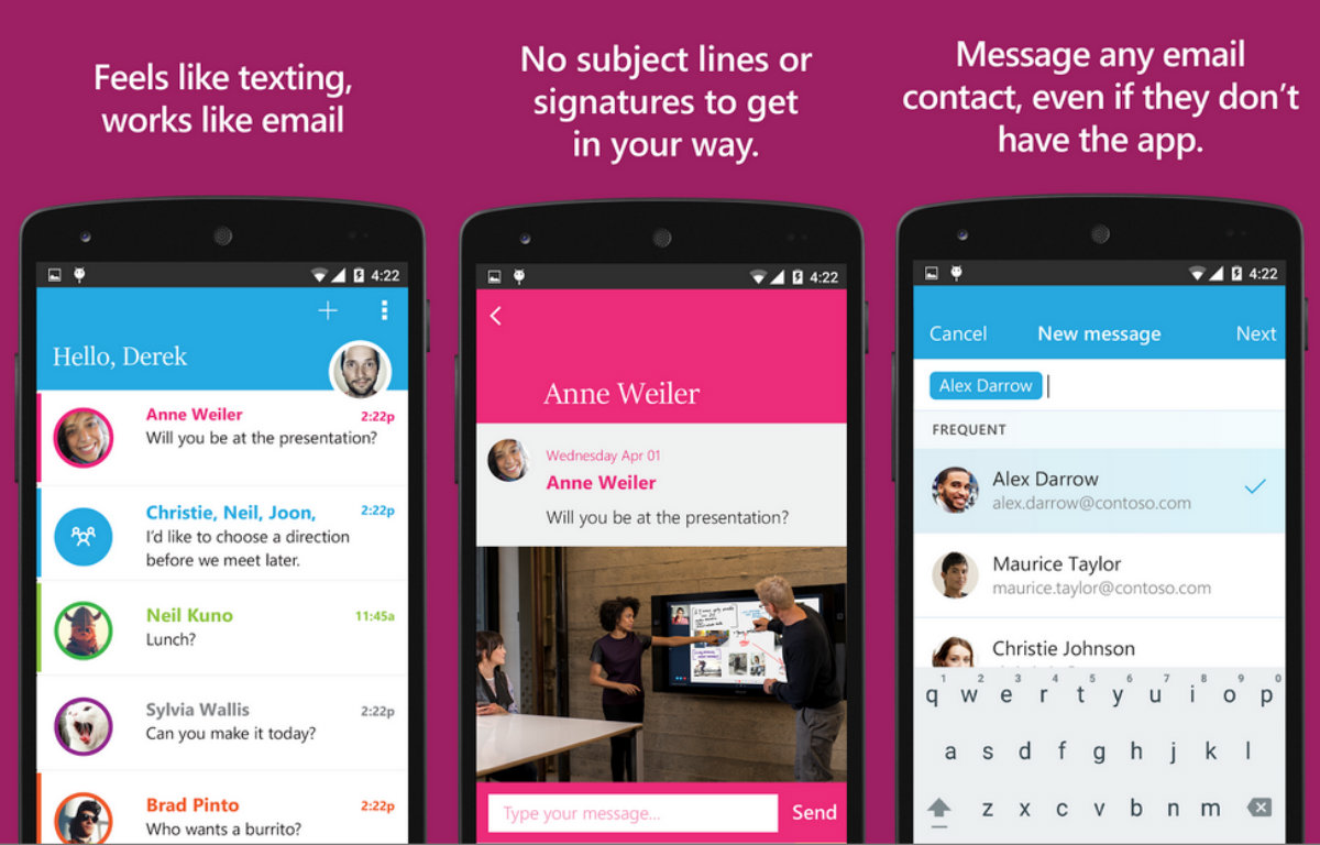 Microsoft's email/texting app Send is available on Android