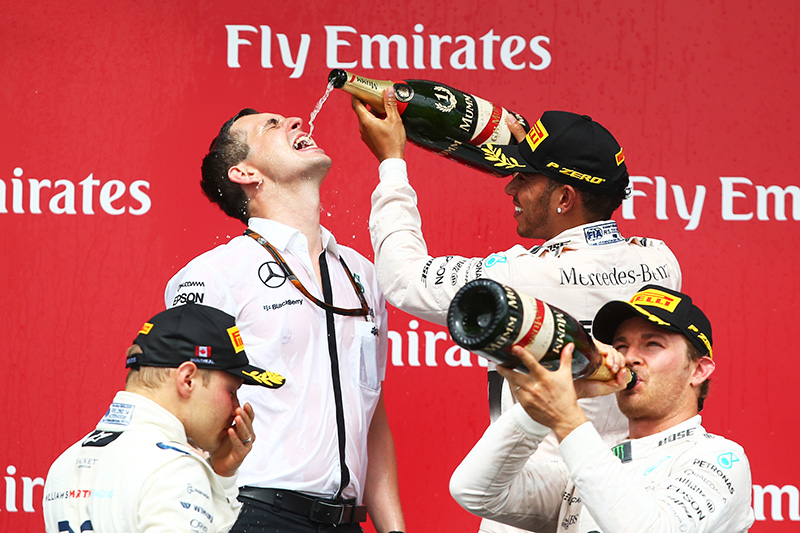 The podium celebrations at the 2015 Canadian F1 grand prix.
