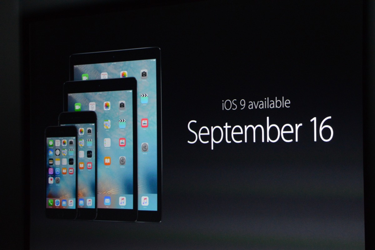 iOS 9 will be available for download September 16th