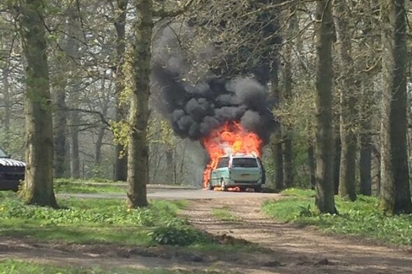 Family's car bursts into flames in lion enclosure at Longleat Safari Park