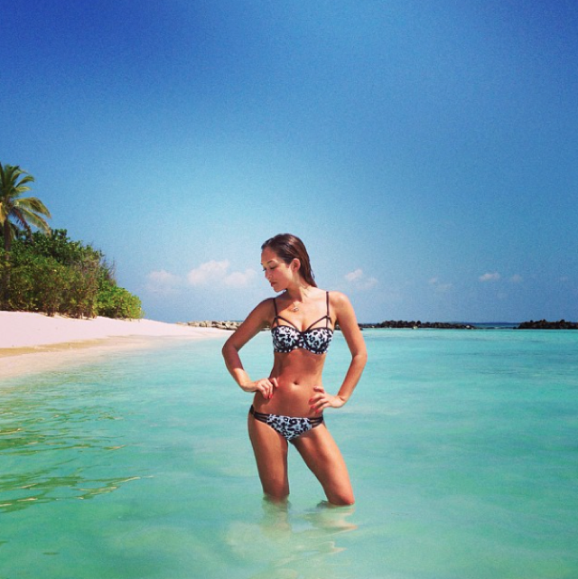 Myleene Klass shows off new bikini collection on tropical holiday