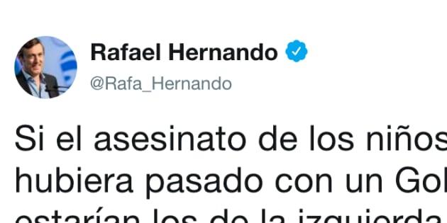 Rafael Hernando indigna con este tuit sobre los niños asesinados en Godella