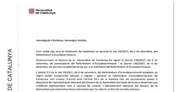 Así es la carta que ha enviado Puigdemont a los alcaldes