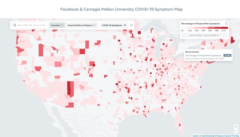Facebook's interactive COVID-19 map displays symptoms by county