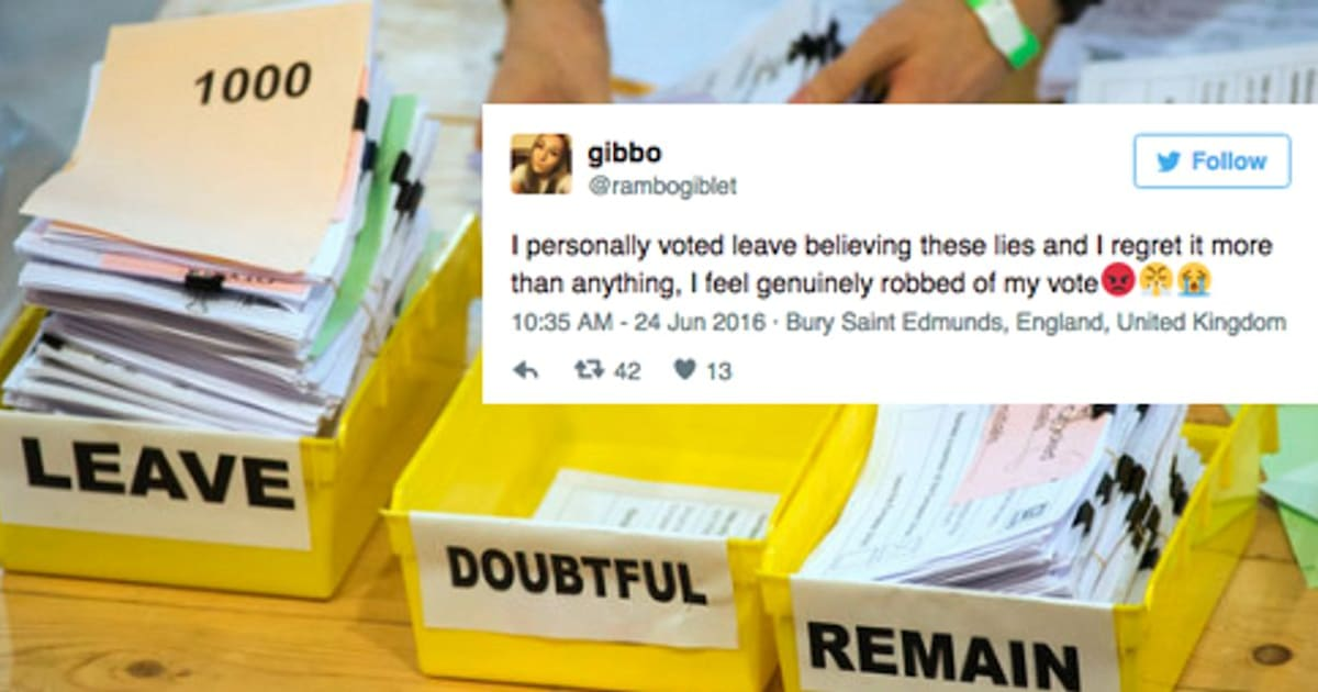 The BrexitBackers Who Regret Not Voting Remain After EU - 25 people regret lying social media