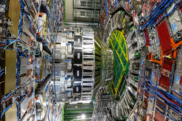 MEYRIN, SWITZERLAND - SEPTEMBER 14: A part of the 14.000 tone CMS detector is seen during the Open Days at the CERN particle physics research facility on September 14, 2019 in Meyrin, Switzerland. The 27km-long Large Hadron Collider is currently shut down for maintenance, which has created an opportunity to offer access to the public. CERN, the European Organization for Nuclear Research, is the world's largest laboratory for research into particle physics. (Photo by Ronald Patrick/Getty Images)