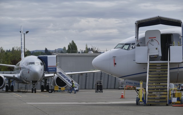 RENTON, WA - APRIL 29: Boeing 737 MAX airplanes are pictured near the company's factory on April 29, 2020 in Renton, Washington. Boeing announced during an earnings call today that it would lay off 15 percent of its commercial-airplanes division workforce amid the fallout from the coronavirus pandemic.  (Photo by Stephen Brashear/Getty Images)