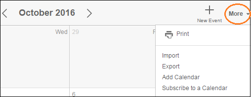 Action drop-down menu