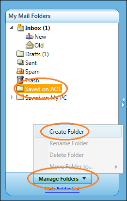 how to delete folders in aol mail