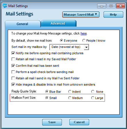 AOL Desktop 9.8 Mail Settings Window