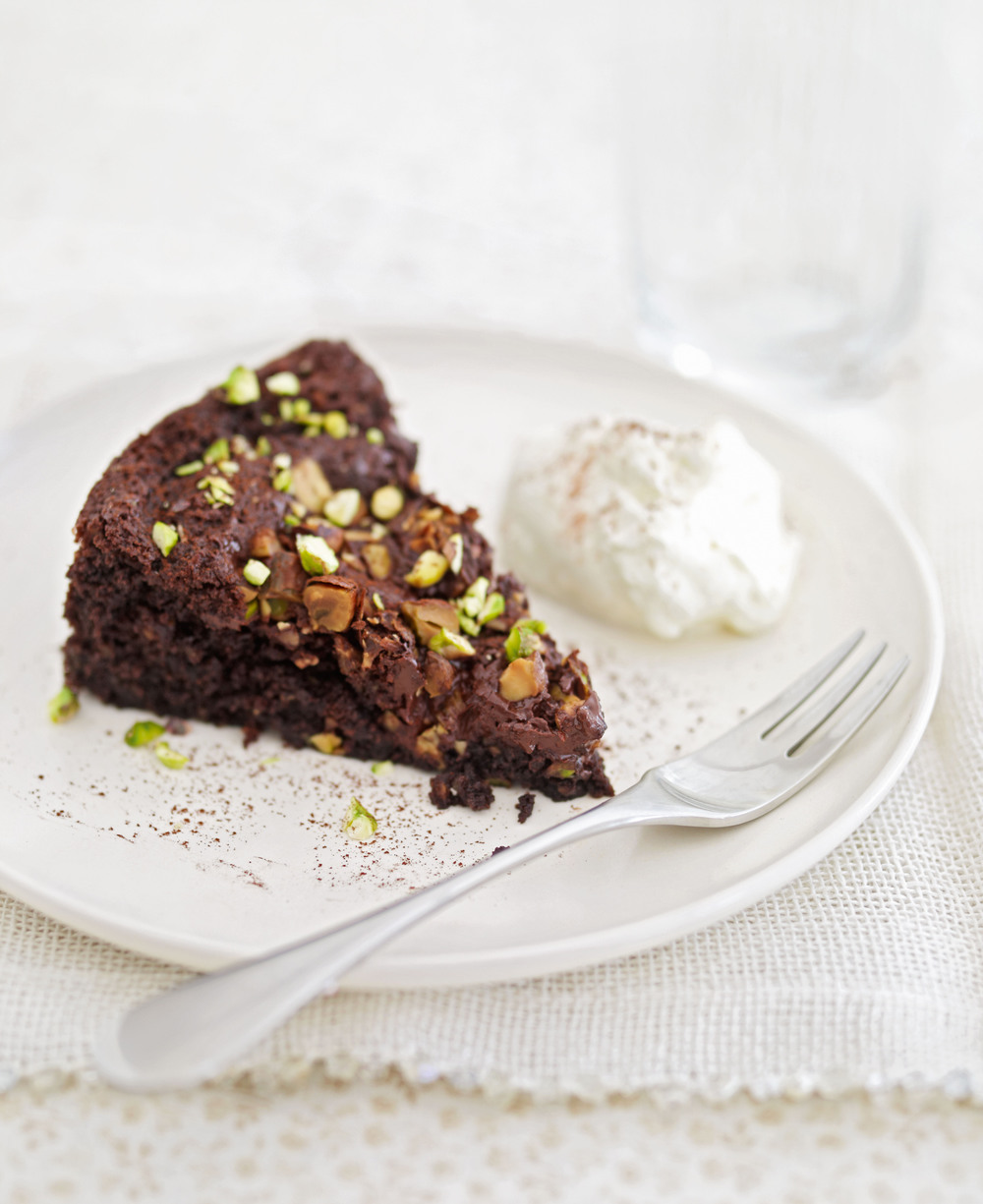 Chocolate-Pistachio Torte with Warm Chocolate Ganache Recipe - Bon ...