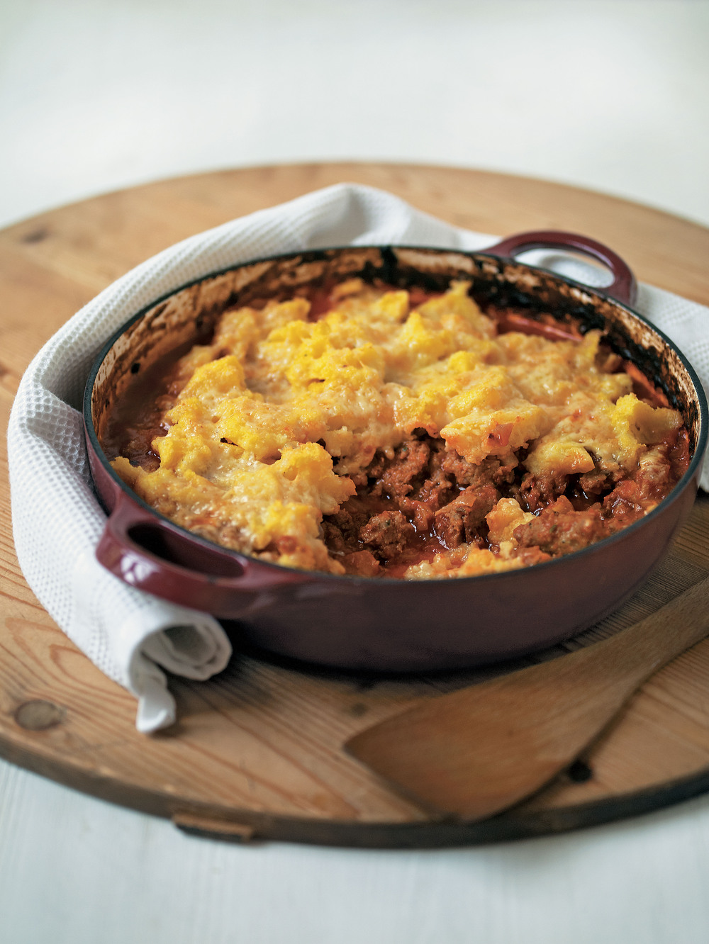 Sausage Ragu with Polenta Crust recipe