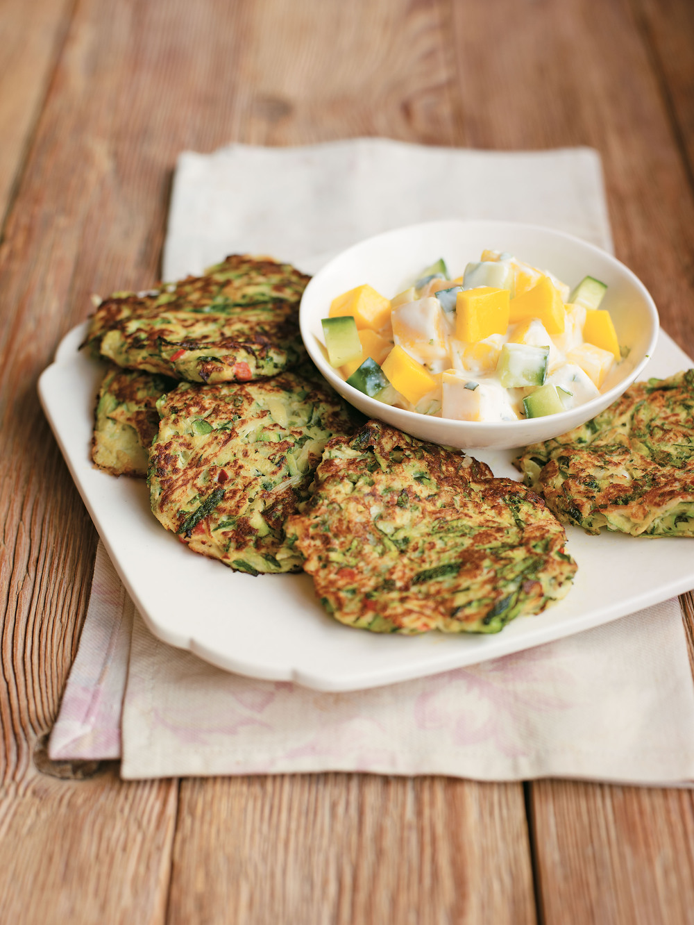 spicy courgette fritters aol living uk