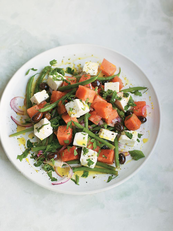 watermelon olive green bean and feta salad recipe. Black Bedroom Furniture Sets. Home Design Ideas