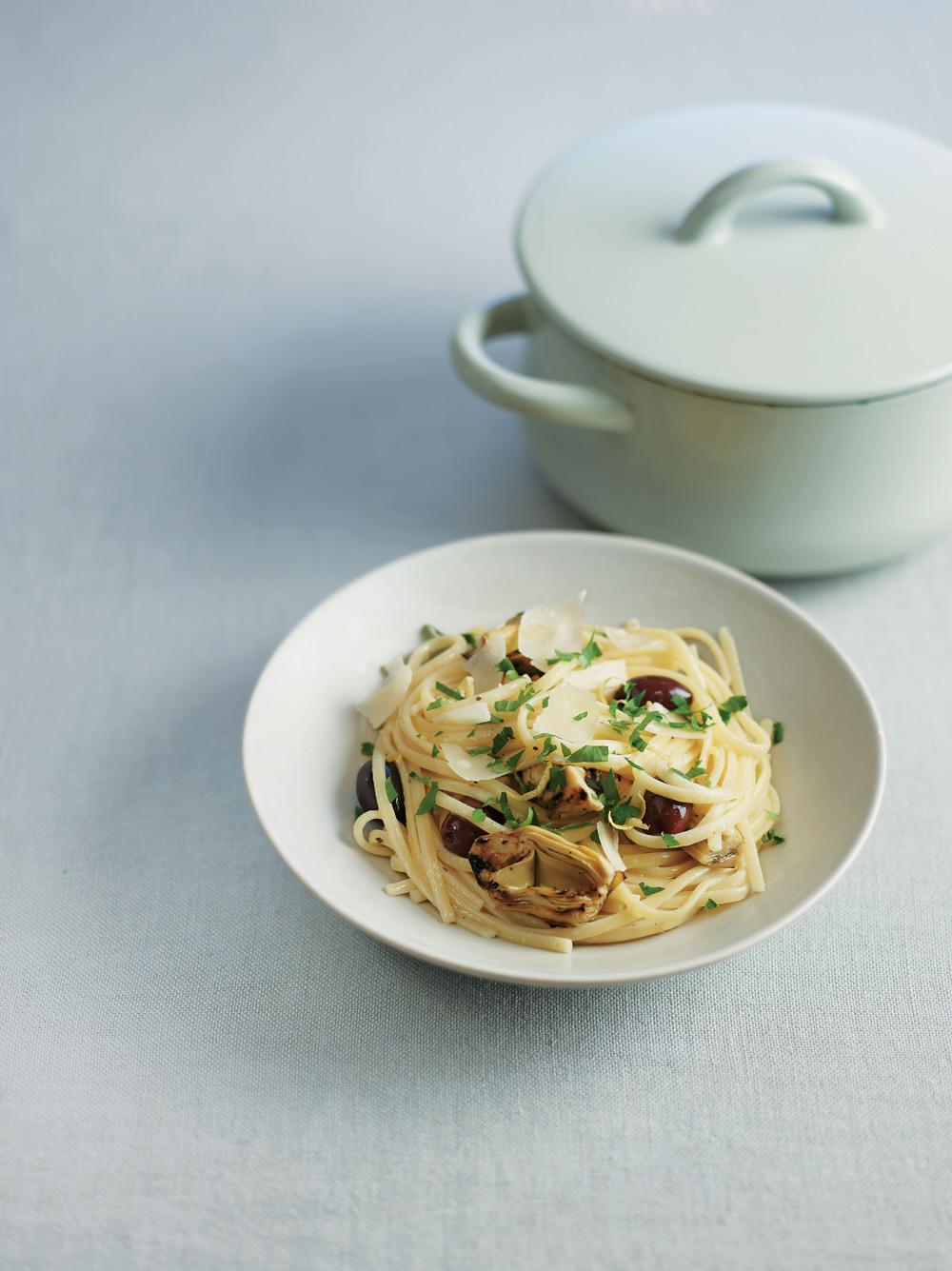 Artichoke, Olive and Lemon Linguine
