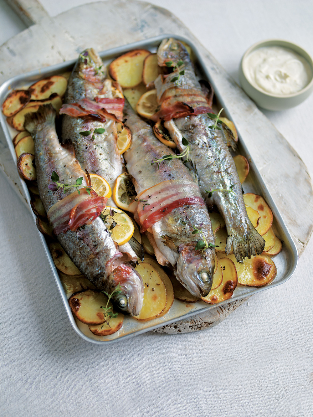 Baked Bacon-Wrapped Trout with Horseradish Sauce recipe