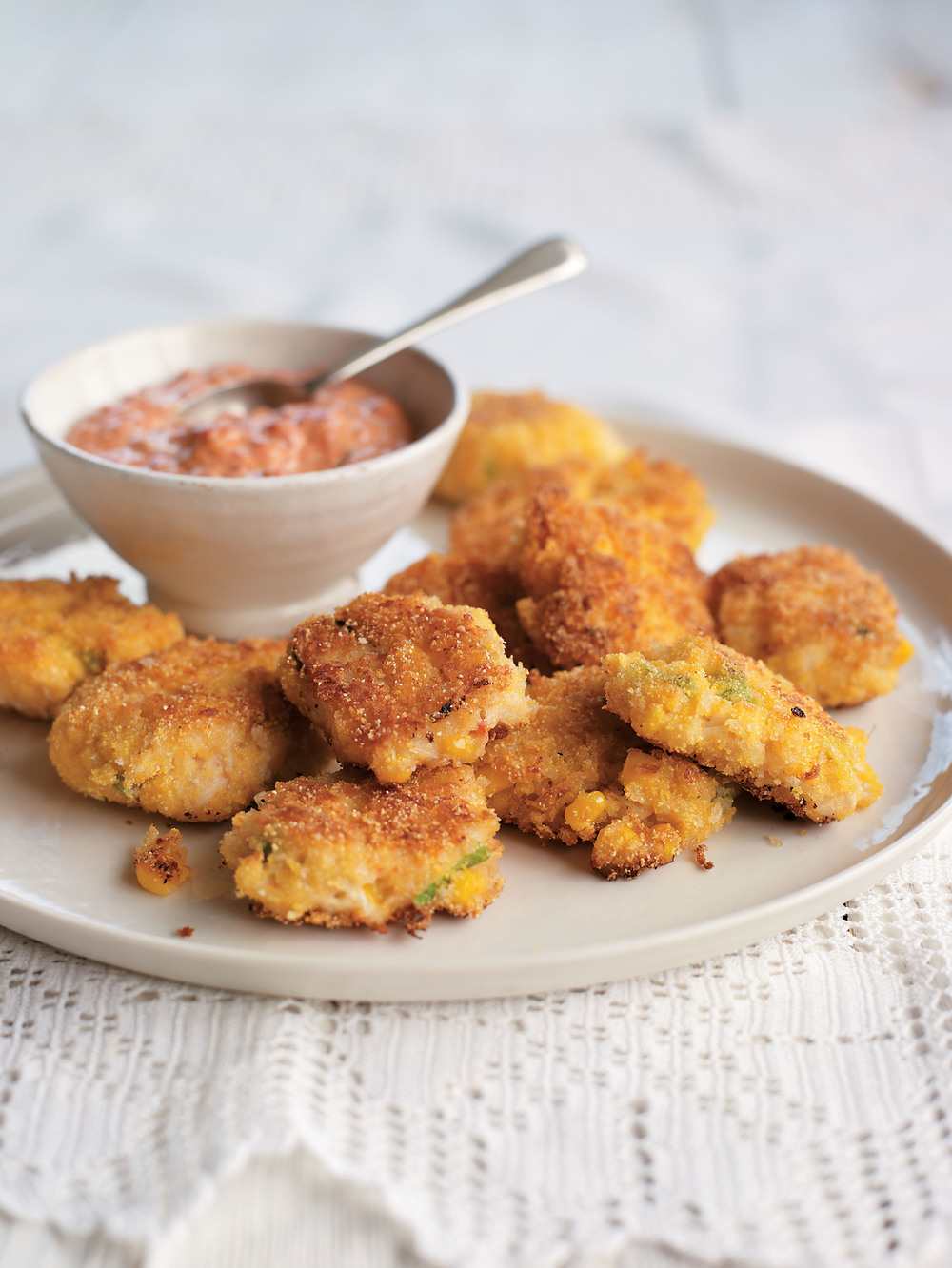Crab and Corn Cakes with Red Pepper Mayonnaise - AOL Living UK