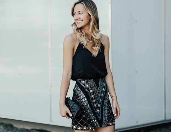 Street style tip of the day: Embellished mini skirt