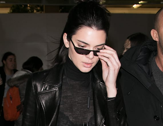 Kendall Jenner flashes her bra in Paris