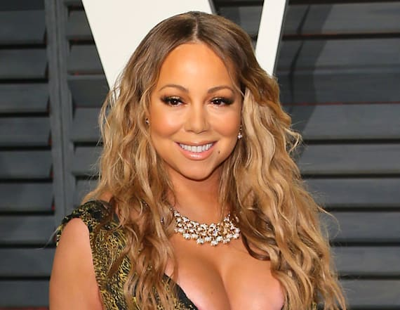 Mariah Carey flaunts major cleavage
