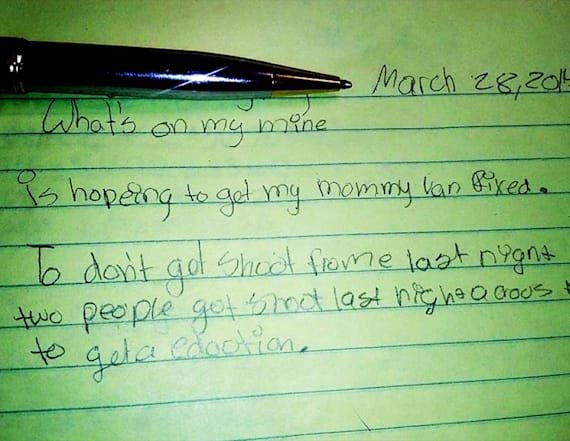 9-year-old writes note about her fear of being shot
