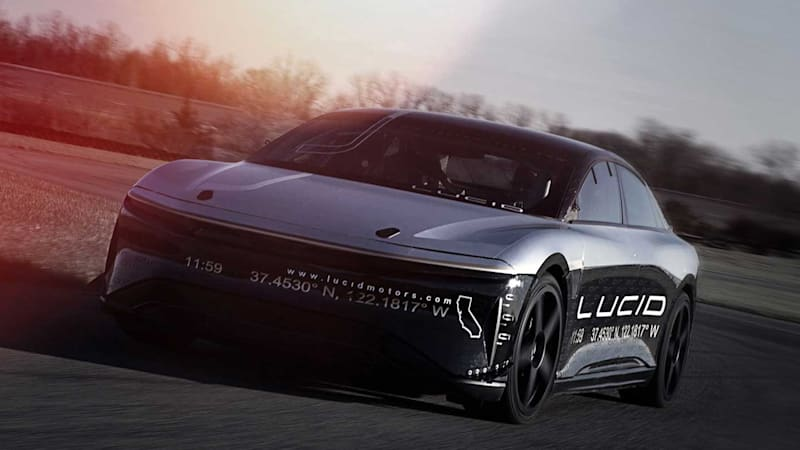 Lucid Air EV prototype hits 217 mph in testing