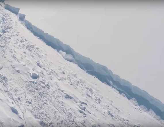 Aerial footage shows massive Antarctic crack