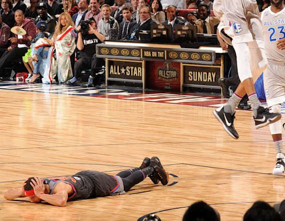 Stephen Curry has a habit of lying down during games