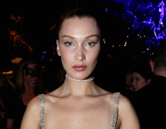 Bella Hadid goes braless in sheer gown
