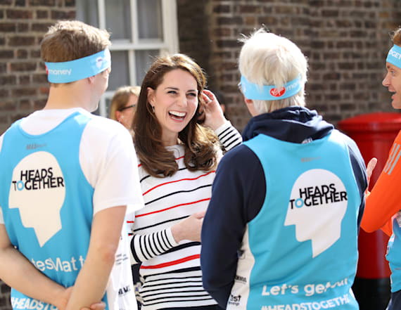 Kate Middleton in casual stripes for marathon event