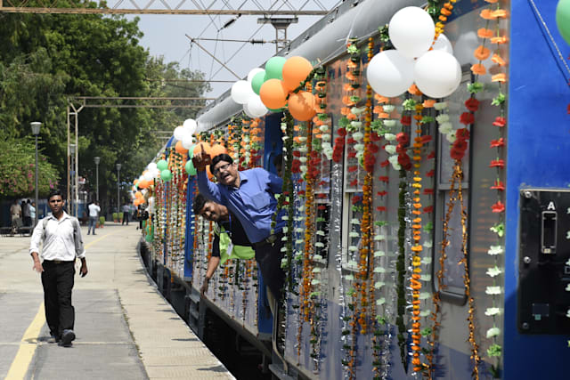 Union Railway Minister Suresh Prabhu Flags Off Solar Powered Demu Train
