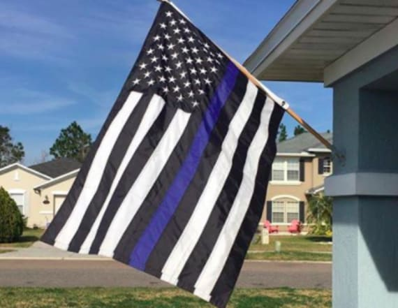 Woman asked to remove 'Blue Lives Matter' flag